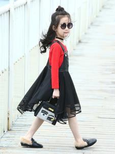 温琪可可童装黑色吊带女裙