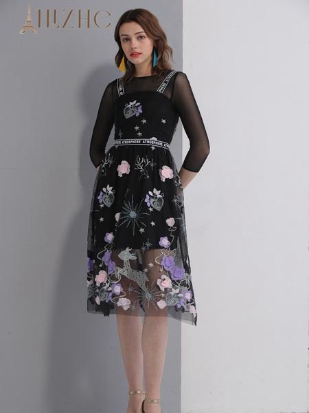 艾丽哲女装春夏新款网纱连衣裙