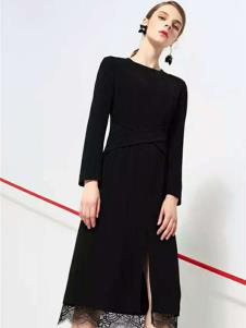 in dependent女装黑色开叉连衣裙