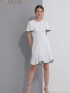 艾丽哲春夏新款白色连衣裙