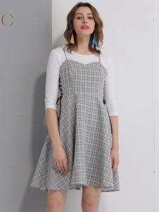 艾丽哲女装春夏新款格子连衣裙
