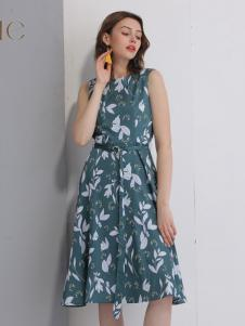 艾丽哲女装春夏新款印花连衣裙