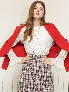 betu百图女装19红色短款外套