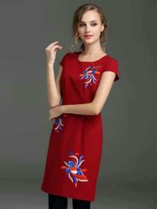 胤影女装红色印花连衣裙