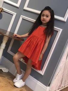 介及童装红色休闲女裙