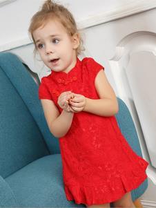 字母贝贝童装红色短袖女裙