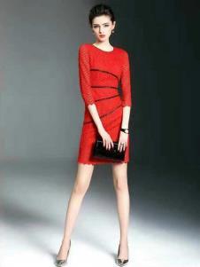 胤影女装红色线条时尚连衣裙