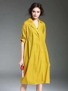 胤影女装黄色中长款休闲风衣