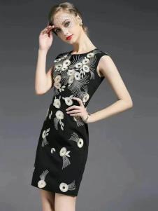胤影女装黑色印花无袖连衣裙