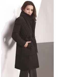 37°love18黑色中长款羽绒服