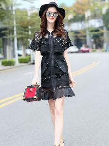 秋之恋品牌女装黑色修身包臀裙