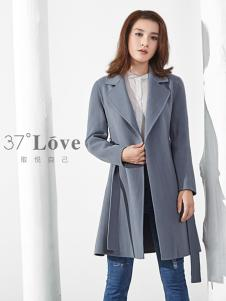37°love女装18灰色简约大衣