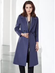 37°love女装18新款蓝色大衣