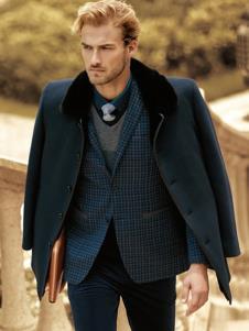 克拉格曼男装深蓝加厚大衣