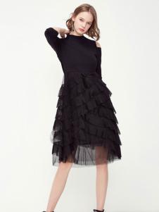 秋之恋品牌女装新款黑色连衣裙