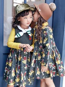 DIZAI棣仔童装女童印花连衣裙