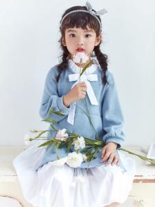 DIZAI棣仔童装女童蓝色毛衣