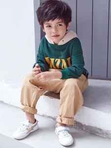 DIZAI棣仔童装绿色可爱卫衣