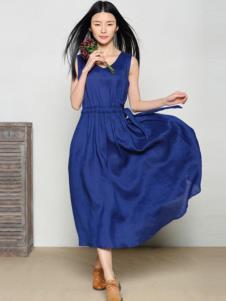 玛希露女装蓝色收腰连衣裙