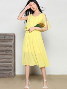 玛希露女装黄色时尚连衣裙