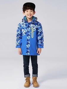 皮咖丘童装蓝色印花棉衣
