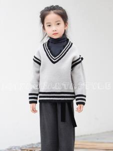naktastyle童装灰色时尚V领毛衫