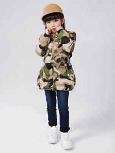 皮咖丘童装迷彩时尚棉衣