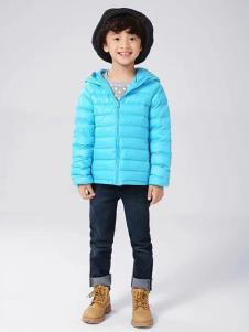 皮咖丘童装蓝色时尚羽绒服