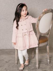 艾米巴童装粉色双排扣女裙套装