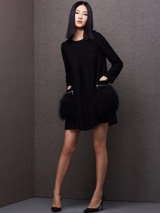 百薇女装黑色修身连衣裙
