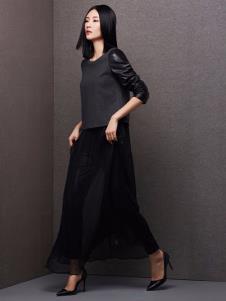百薇女装藏青网纱半身裙