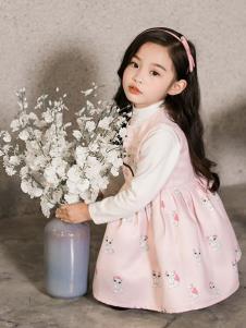 艾米巴童装粉色猫咪女裙