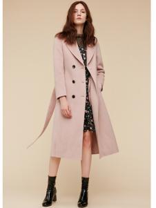 季候风女装粉色简约大衣