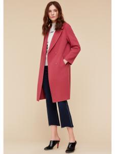 季候风女装红色韩版大衣