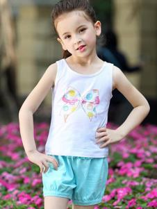 摩卡小寶童裝白色蝴蝶結背心