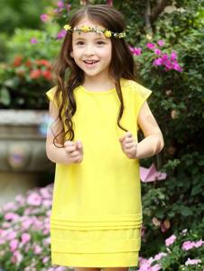 摩卡小寶童裝黃色時尚女裙