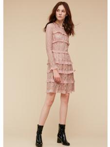 季候风女装粉色精致蕾丝连衣裙