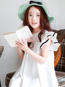 摩卡小寶童裝白色寬松女裙