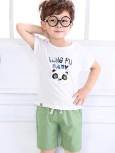 摩卡小寶童裝白色熊貓T恤