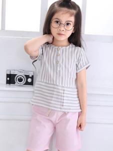 摩卡小寶童裝灰色條紋T恤