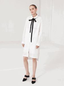 LUJOE女装白色长款衬衫