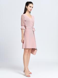 2019音非女装粉色中袖连衣裙