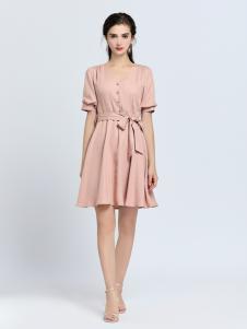 2019音非女装粉色绑带连衣裙