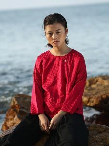 典禾女装红色宽松T恤