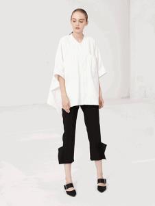 LUJOE女装白色蝙蝠宽松T恤