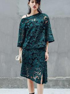 伊尚女装绿色蕾丝连衣裙