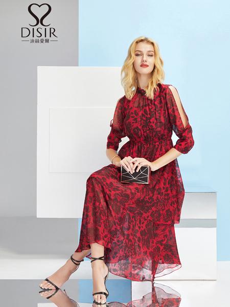 2019迪丝爱尔红色雪纺连衣裙