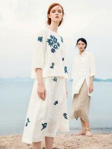 zolle女装白色棉麻连衣裙