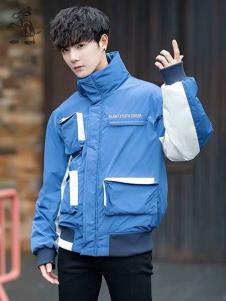 一个人的生活男装蓝色休闲棉衣