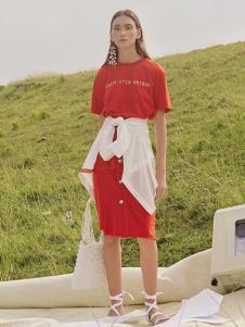 MYMO2019春夏新款红色套装